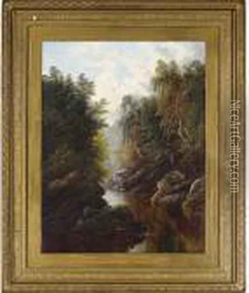 A Peaceful Wooded River Landscape Oil Painting - William Mellor
