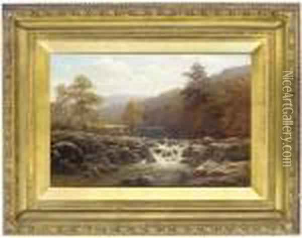 On The River Llugwy, North Wales Oil Painting - William Mellor