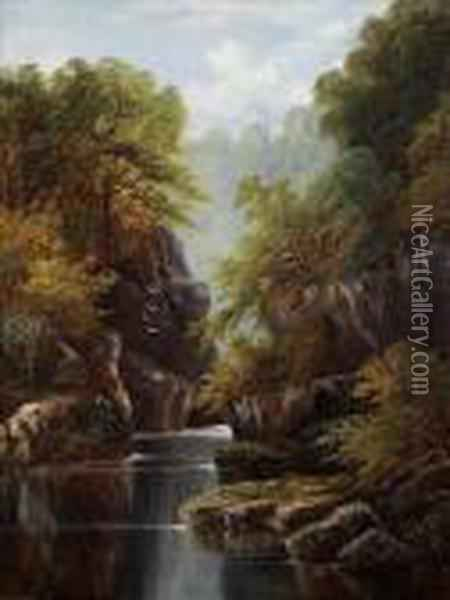 A Wooded River Ina Rocky Gorge Oil Painting - William Mellor