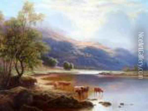 Cattle Watering In A Highland Loch Oil Painting - William Mellor