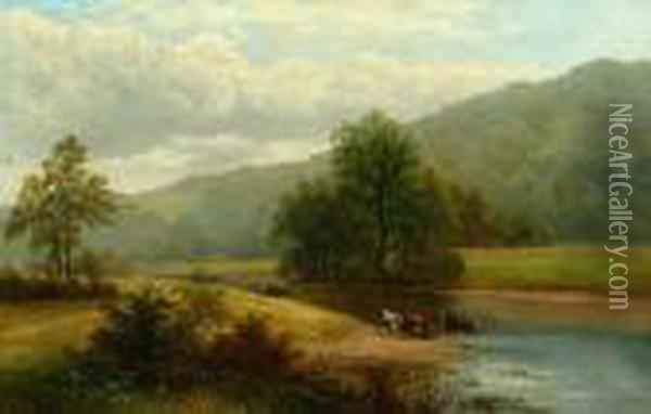 View On The Wharfe, Yorkshire Oil Painting - William Mellor