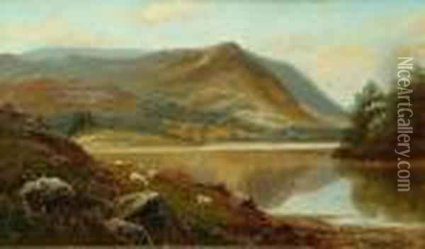'grasmere Lake, Westmoreland'; 'on The Hills, Near Ambleside, Westmoreland' Oil Painting - William Mellor