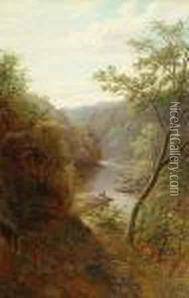 'wharfe Above The Strid, Bolton  Woods, Yorskhire'; 'a Peep Of Bolton Abbey, From The Strid, Yorkshire' Oil Painting - William Mellor