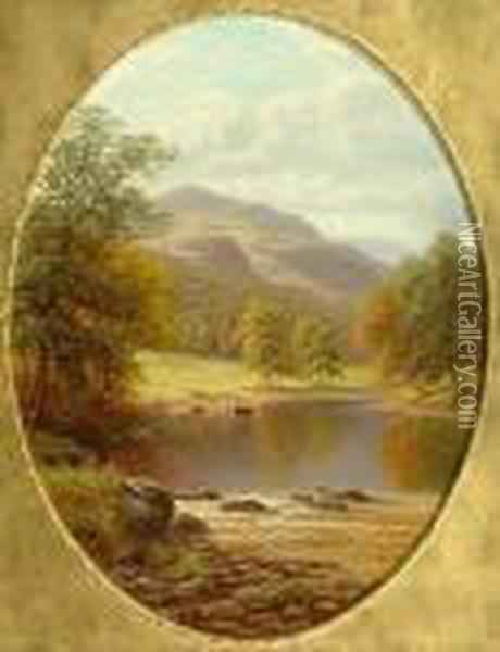 'on The Wharfe, Yorkshire'; 'rydal Lake, Westmoreland' Oil Painting - William Mellor