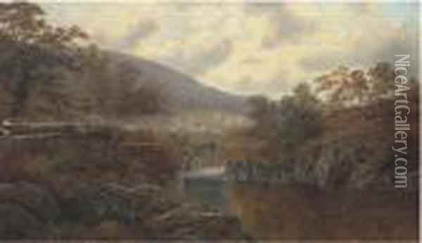 Pont-y-aberglaslyn, North Wales Oil Painting - William Mellor