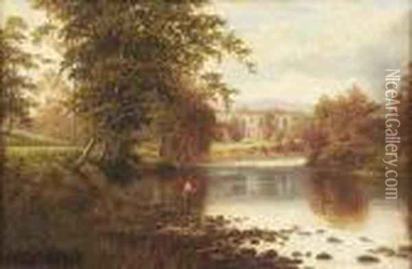 Fishing - Bolton Abbey On The Wharfe Oil Painting - William Mellor