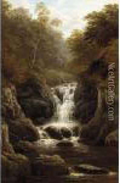 Waterfall In The Wood Oil Painting - William Mellor