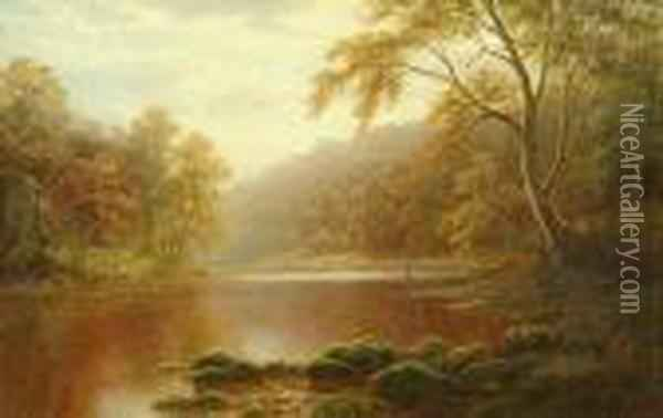 An Angler Beside A Calm River, Probably On The Wharfe Near Bolton Abbey; A River Scene Oil Painting - William Mellor