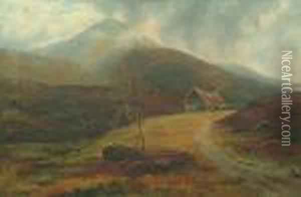 A Moorland Scene With Cattle Grazing With Mountains Beyond, Possibly Wales Oil Painting - William Mellor