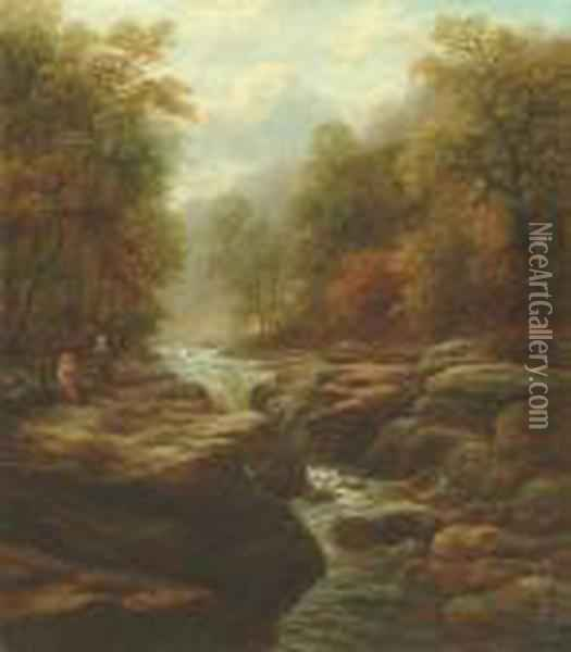 The Strid, Bolton Woods, Yorkshire Oil Painting - William Mellor