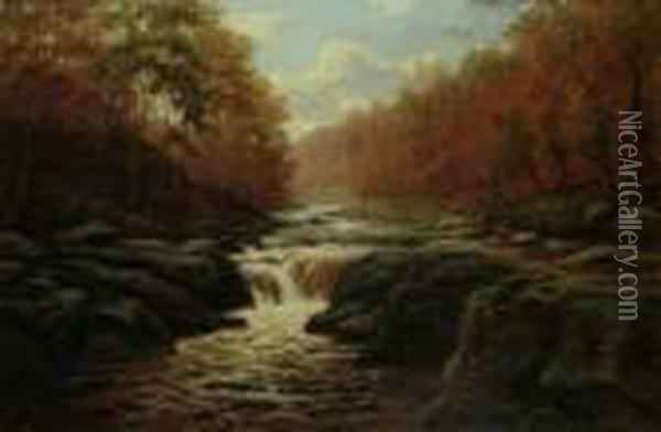 Falls In North Wales Oil Painting - William Mellor