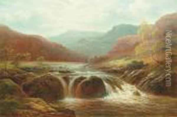 An Upland River Scene Oil Painting - William Mellor