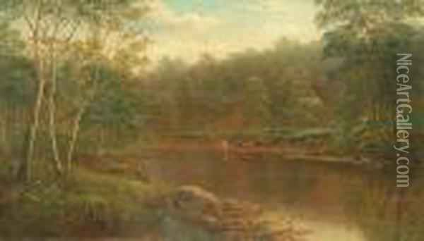 On The Wharfe, Bolton Woods, Yorkshire Oil Painting - William Mellor