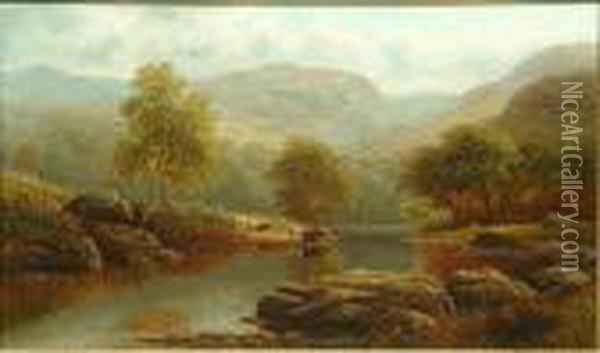 A River Landscape With Cattle Watering, Possibly On The Wharfe; A Lakeland Landscape Oil Painting - William Mellor