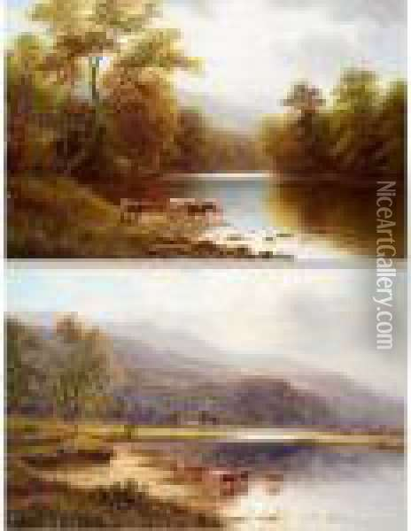 On The Wharfe, Near Beamsley; On The Glaslyn, North Wales Oil Painting - William Mellor