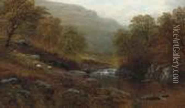 On The River Llugwy; And On The River Lledr Oil Painting - William Mellor