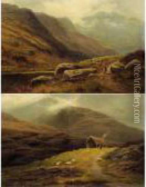 On The Cumberland Hills; On The Hills Westmorland Oil Painting - William Mellor