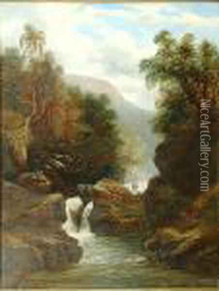 A Waterfall Scene Oil Painting - William Mellor