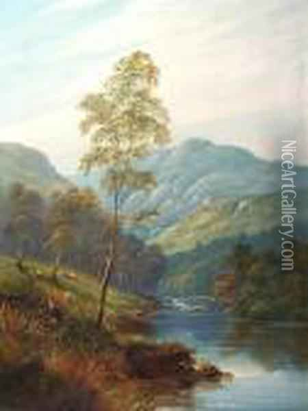 Morning On The Derwent And Evening, Ullswater Oil Painting - William Mellor