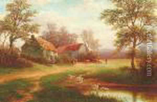A Farmstead With A Figure And Cattle Oil Painting - William Mellor