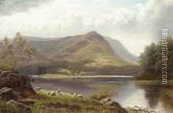 Grasmere Lake From Loughrigg Oil Painting - William Mellor