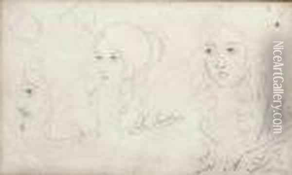 Sketches Of A Girl's Head Oil Painting - Sir John Everett Millais