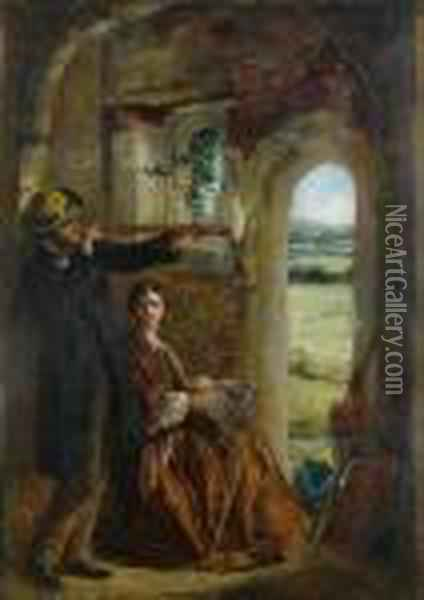 Young Couple Observing A Landscape Through A Doorway Oil Painting - Sir John Everett Millais