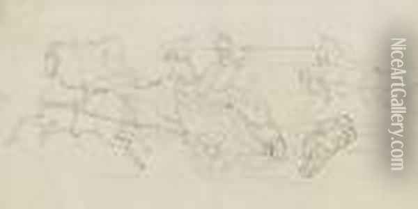 Studies For 'a Huguenot' And  'romeo Andjuliet' On One Sheet, Together With Eight Juvenile Drawings In  Twoframes Oil Painting - Sir John Everett Millais