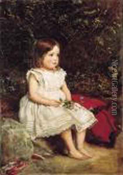 Portrait Of Eveline Lees As A Child, Seated Full Length By A Bank,wearing A White Dress Oil Painting - Sir John Everett Millais