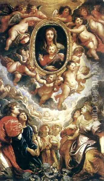 Madonna Adored by Angels (Madonna della Vallicella) 1608 Oil Painting - Peter Paul Rubens