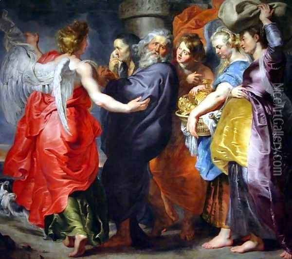 The Departure of Lot and his Family from Sodom Oil Painting - Peter Paul Rubens