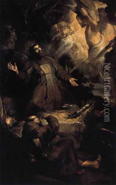 The Stigmatization of St Francis c. 1616 Oil Painting - Peter Paul Rubens