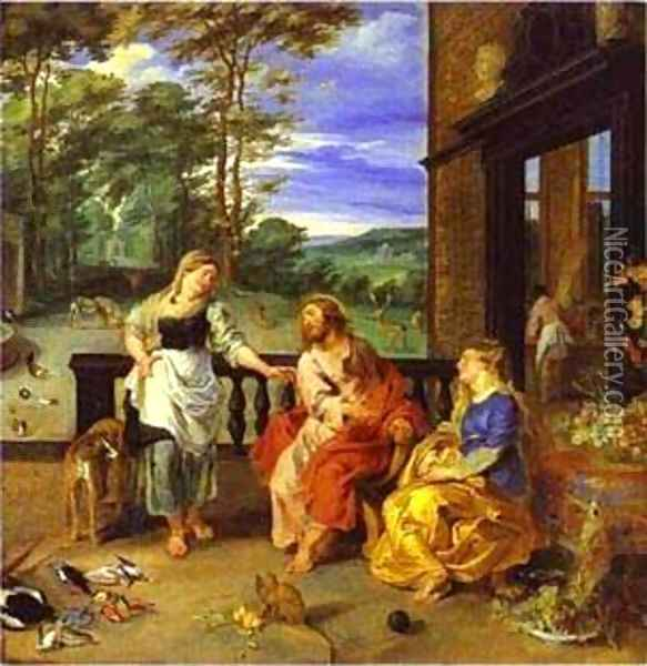 Jan Bruegel-The Younger And Peter Paul Rubens Christ In The House Of Martha And Mary 1628 Oil Painting - Peter Paul Rubens