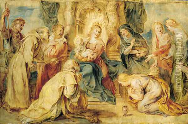 The Virgin and Child enthroned adored by eight Saints Oil Painting - Peter Paul Rubens
