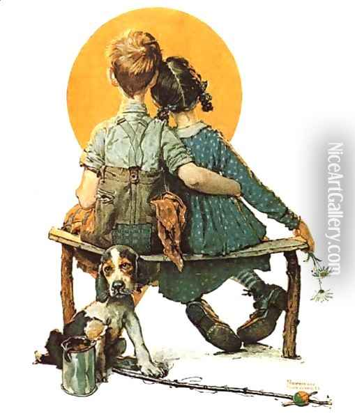 Sunset Oil Painting - Norman Rockwell