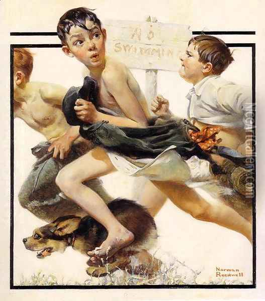 No Swimming Oil Painting - Norman Rockwell
