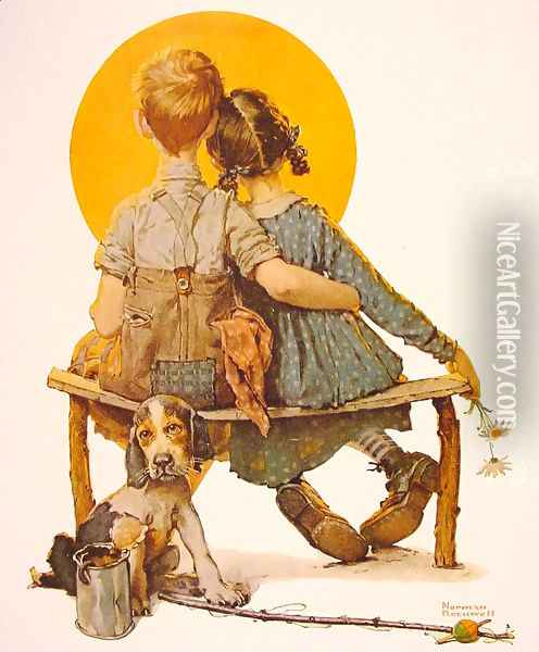 Boy and girl gazing al the moon (puppy love) Oil Painting - Norman Rockwell