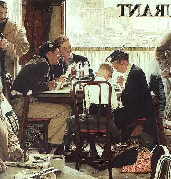 Saying Grace Oil Painting - Norman Rockwell