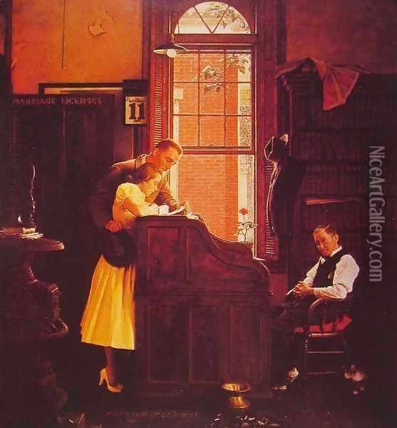 Marriage License Oil Painting - Norman Rockwell