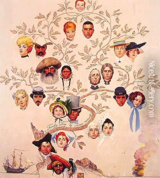 A Family Tree Oil Painting - Norman Rockwell