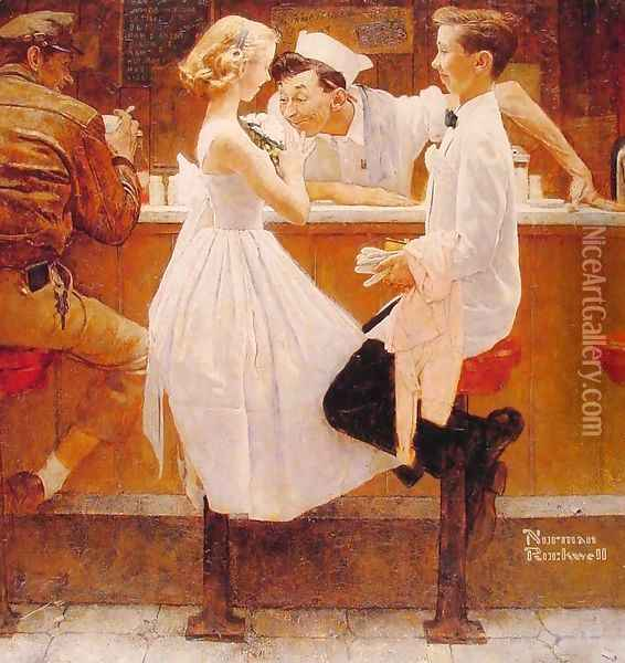 After the Prom Oil Painting - Norman Rockwell