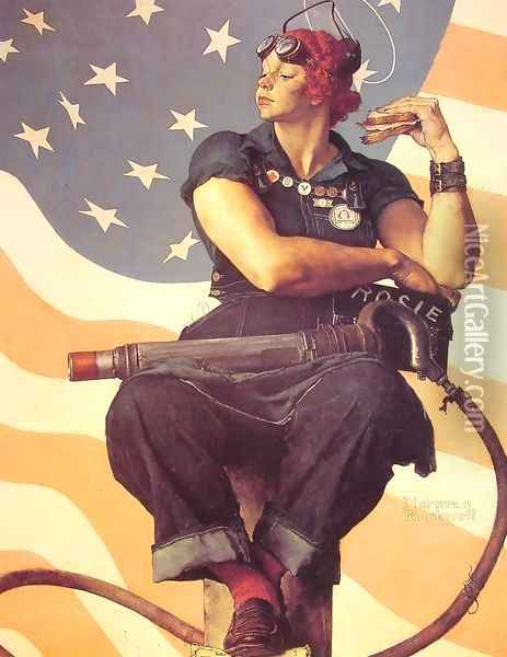 Rosie the Riveter Oil Painting - Norman Rockwell