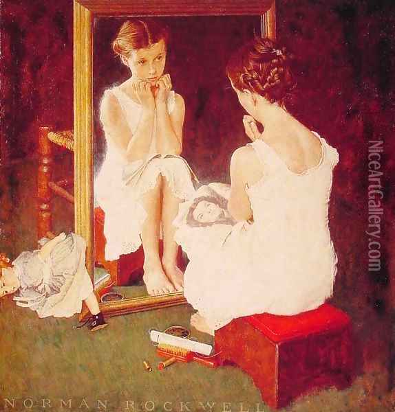 Girl at the Mirror Oil Painting - Norman Rockwell