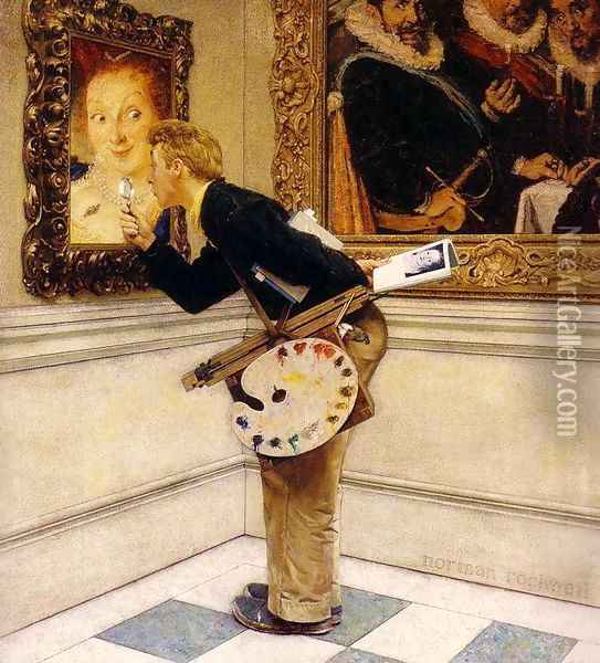 Art Critic Oil Painting - Norman Rockwell