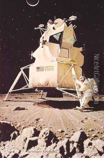 Man on the Moon Oil Painting - Norman Rockwell