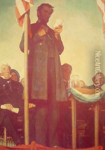 Abraham Delivering the Gettysburg Address Oil Painting - Norman Rockwell