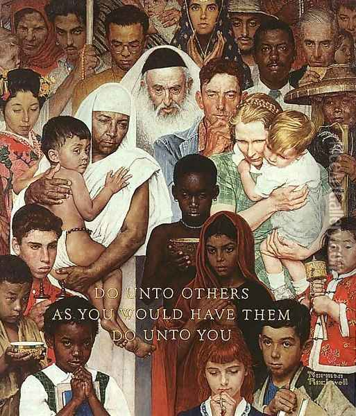 The Golden Rule Oil Painting - Norman Rockwell