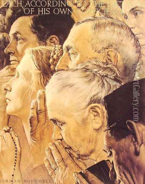 Freedom to Worship Oil Painting - Norman Rockwell