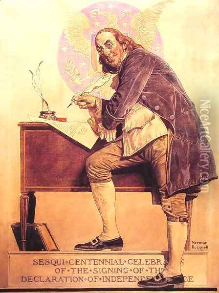Ben Franklin's Sesquicentennial Oil Painting - Norman Rockwell