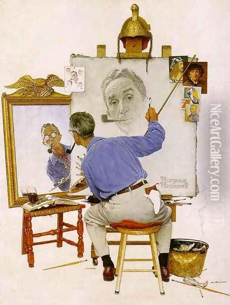 Triple Self Portrait Oil Painting - Norman Rockwell